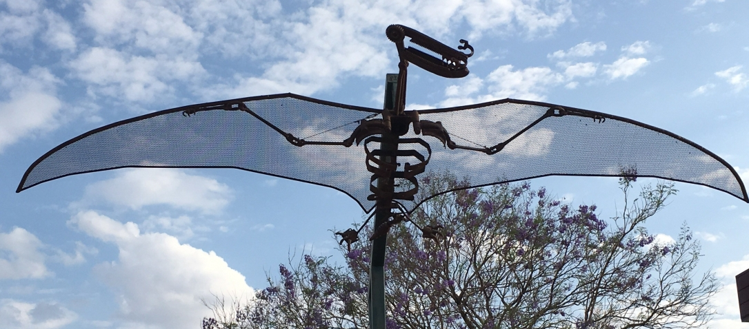 'Leanneosaur' - life sized flying metal sculpture of a Queensland Pterosaur
