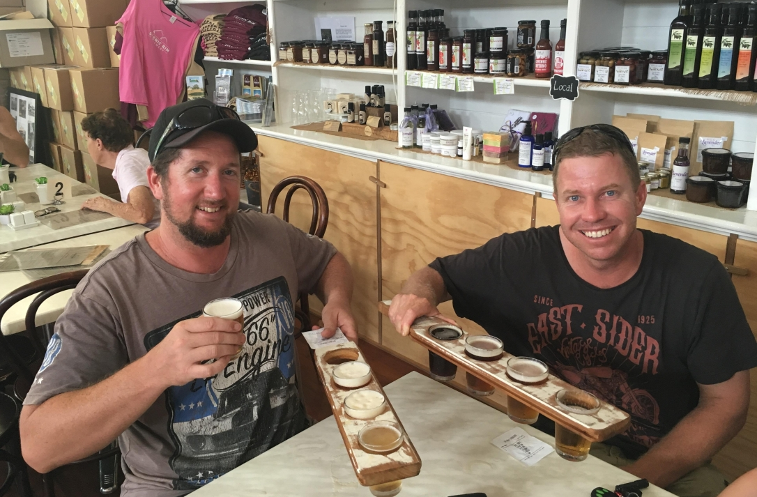 Andrew and David beer tasting