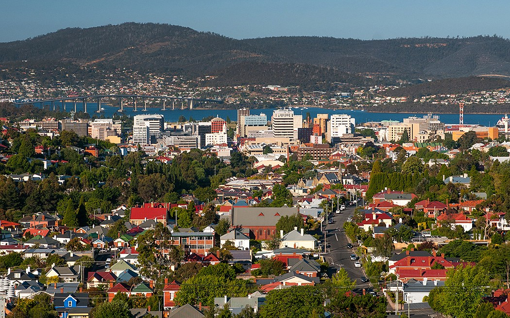 Skyline of Hobart with Mt. Wellington in background