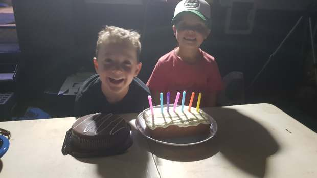 Max was turning 7 in September so we had a cake for him too!!